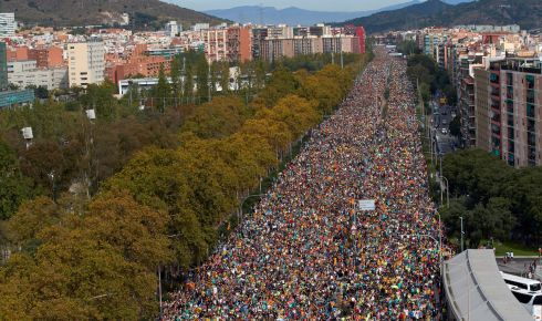 BARCELONA: Thousands of people take part in the Marches for Freedom in Barcelona, Spain on Friday, during a general strike called on the day amid a wave of protests against the sentence condemning Catalan leaders to nine, 11, 12 and 13 years imprisonment for sedition, and in some cases embezzlement, for holding an illegal referendum. Photograph: Alejandro Garcia/EPA