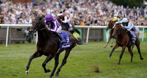 Ryan Moore riding Ten Sovereigns to win The Darley July Cup Stakes at Newmarket in July. Photograph: Alan Crowhurst/Getty Images