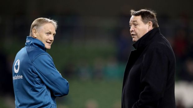 Joe Schmidt and Steve Hansen chat ahead of last November's Test match between Ireland and New Zealand at the Aviva stadium. Photograph: Dan Sheridan/Inpho