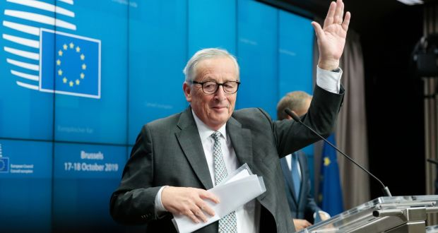 Outgoing president of the European Commission Jean-Claude Juncker earned a round of applause from the hardbitten hacks. Photograph: Olivier Hoslet/EPA