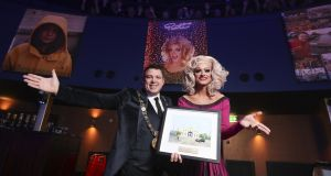 Lord Mayor Paul Mc Auliffe presenting the Lord Mayors Award to performer Panti Bliss. Photograph:  Conor McCabe Photography