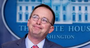 Acting White House chief of staff Mick Mulvaney:   contradicted US president Donald Trump's repeated denials. Photograph: Michael Reynolds/EPA