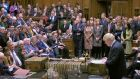Prime Minister Boris Johnson delivers his  statement in the House of Commons on Saturday morning. Photograph: House of Commons/PA Wire