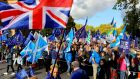 People attend the 'Together for the Final Say' march against Brexit in London. Photograph: Vickie Flores/EPA.