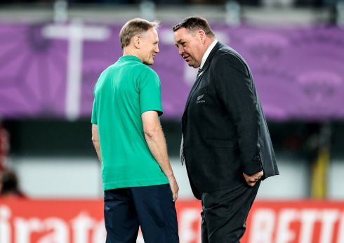 Ireland head coach Joe Schmidt with New Zealand head coach Steve Hansen before the game. Photo: Billy Stickland/Inpho