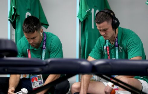 Ireland's Conor Murray and Johnny Sexton ahead of the game. Photograph: Dan Sheridan/Inpho