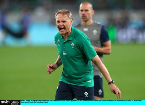 Joe Schmidt during the warmup ahead of the game. Photo: Stu Forster/Getty Images