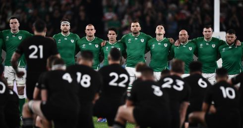 Ireland's players line up as New Zealand's perform the haka. Photo: Getty Images