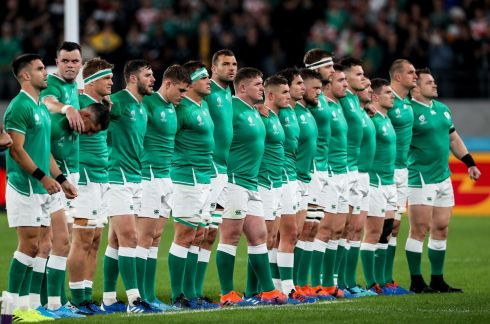 The Ireland team during the anthems. Photo: Billy Stickland/Inpho