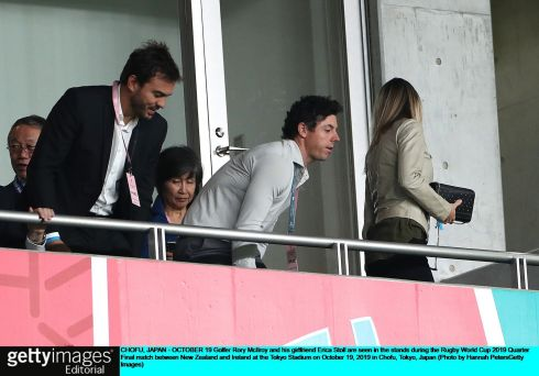Golfer Rory McIlroy in the stands at the Tokyo Stadium. Photo: Hannah Peters/Getty Images