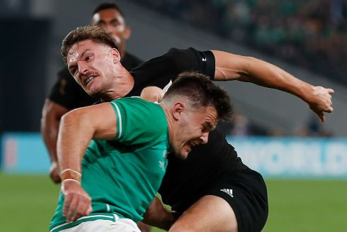 New Zealand's  George Bridge is tackled by Ireland's Jacob Stockdale.  Photo: Getty Images