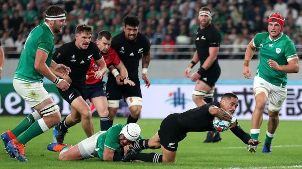 Aaron Smith of New Zealand scores his side's first try. Photograph: Hannah Peters/Getty Images