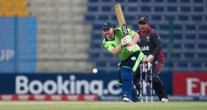 Ireland batsman Paul Stirling in action during his knock of 72 against the United Arab Emirates at the T20 World Cup qualifier in Abu Dhabi. Photograph: ICC