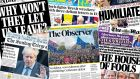 Newspapers across the UK and Ireland lead with Saturday's Brexit debacle. Photograph: BBC