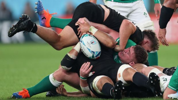 Rugby Tadhg Furlong loses the ball as he's tackled. Photo: Billy Stickland/Inpho
