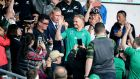 Ireland head coach Joe Schmidt acknowledges the crowd as he walks down from the coaching box after the Rugby World Cup quarter-final against New Zealand in Tokyo. Photograph: Dan Sheridan/Inpho