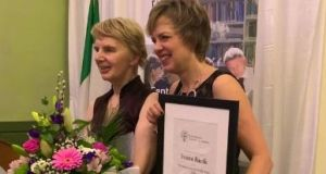 Senator Ivana Bacik said she was particularly pleased to accept the award in 2019, marking 100 years since the passage in Westminster of a 1919 Act, applicable to Ireland, which removed a legal ban on women entering the professions and the senior civil service. She is pictured here with her mother  Rina. Photograph: Twitter