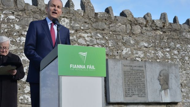 Fianna Fáil leader Micheál Martin speaking at the Annual Fianna Fáil Wolfe Tone Commemoration at Bodenstown, Co Kildare. Photograph: Alan Betson/The Irish Times.
