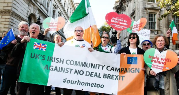 Members of the UK's Irish Community Campaign Against a No-Deal Brexit are pictured at Saturday's pro-Remain march in London. Photograph: Joanne O'Brien