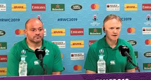 Ireland's Rory Best  and head coach Joe Schmidt face the media following the heavy quarter-final defeat to New Zealand  at Tokyo Stadium, Tokyo. Photograph:  Andy Newport/PA