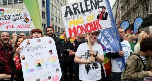 Campaigners take part in a march in Belfast city centre demanding same-sex marriage in Northern Ireland. Photograph: Brian Lawless/PA Wire