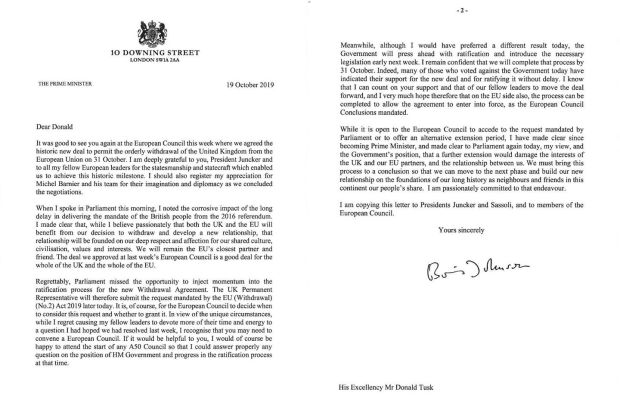 Letter written by UK prime minister Boris Johnson to the European Council President Donald Tusk. Photograph: Downing Street/PA Wire.