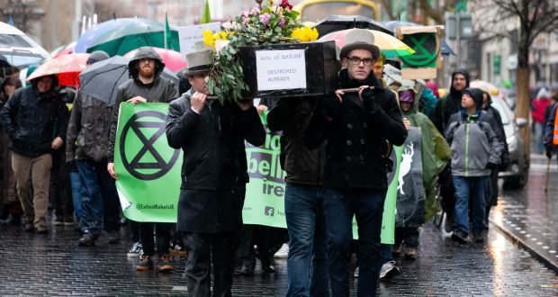 An Extinction Rebellion demonstration in Dublin. The Government's climate plan is designed to ensure that Ireland reaches it 2030 carbon emissions reduction targets