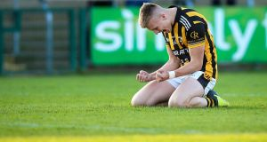 Crossmaglen's Rian O'Neill celebrates at the final whistle. Photograph: Tommy Dickson/Inpho