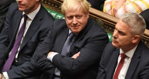 British prime minister Boris Johnson in the House of Commons during the first Saturday sitting of parliament since 1982. Photograph: Jessica Taylor/UK Parliament/AFP via Getty