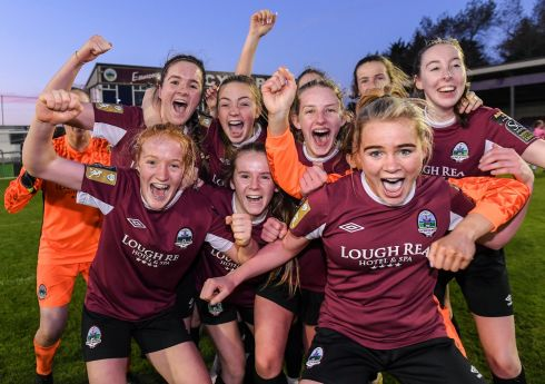 SHOUT IT OUT: Galway Women's Football Club players celebrate winning the Women's National League Under-17 League Final match between Galway WFC and Wexford Youths at Eamonn Deacy Park in Galway. Photograph: Matt Browne/Sportsfile