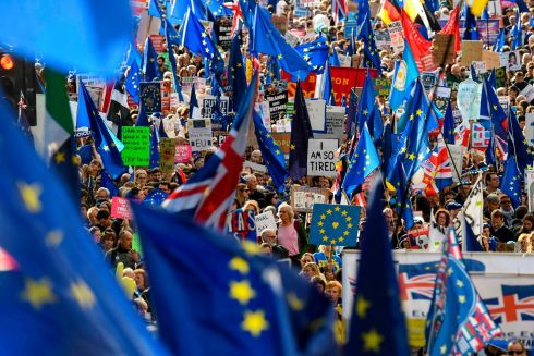 PEOPLE'S VOTE: Demonstrators hold placards and EU flags as they take part in a march by the People's Vote organisation in central London on Saturday, calling for a final say in a second referendum on Brexit. Photograph: Niklas Halle'n/AFP/Getty