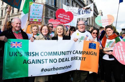 IRISH IMPACT: Actor Sinead Cusack (centre) with members of the UK's Irish Community Campaign against No Deal Brexit, during the People's Vote march in London. Photograph: Joanne O'Brien