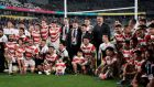 Japan's players and staff after their Rugby World Cup quarter-final defeat to South Africa. Photograph: Kimimasa Mayama/EPA