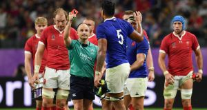 Referee Jaco Peyper shows Sebastien Vahaamahina a red card during France's Rugby World Cup defeat to Wales. Photograph: Ashley Western/PA