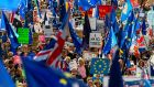 Demonstrators hold placards and EU flags as they take part in a march organised by the People's Vote organisation in central London last weekend. Photograph: Niklas Halle'n/ AFP