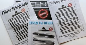 Australia's major newspapers have published redacted front pages in a co-ordinated campaign to highlight government secrecy. Photograph: AP Photo/Rick Rycroft