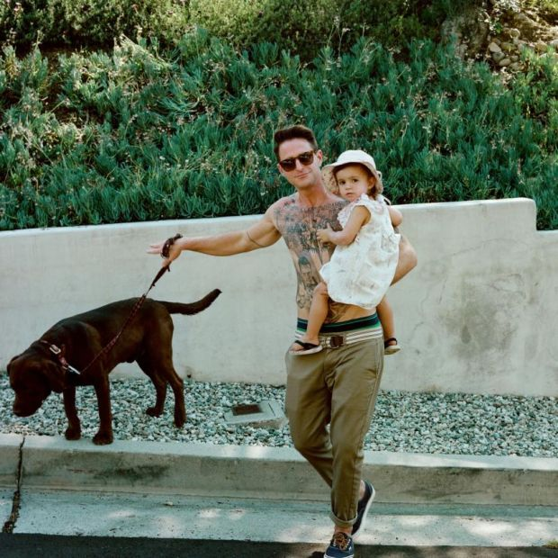 Cameron Douglas with his daughter, Lua, and dog, Tank. Photograph: Harry Eelman/New York Times