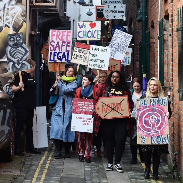 Abortion-rights demonstrators march through the streets of Belfast ahead of a meeting of the Assembly. Photograph: Charles McQuillan/Getty