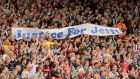 West Brom fans hold up a 'Justice For Jeff' banner in 2014 for Jeff Astle who died of serious brain injuries caused by heading heavy footballs. Photo: Ian Walton/Getty Images