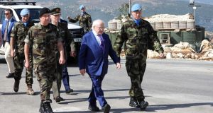 The President, Michael D Higgins, at the Unifil Irish Battalion headquarters in Tiri in southern Lebanon on October 18th. Photograph: AFP/Getty