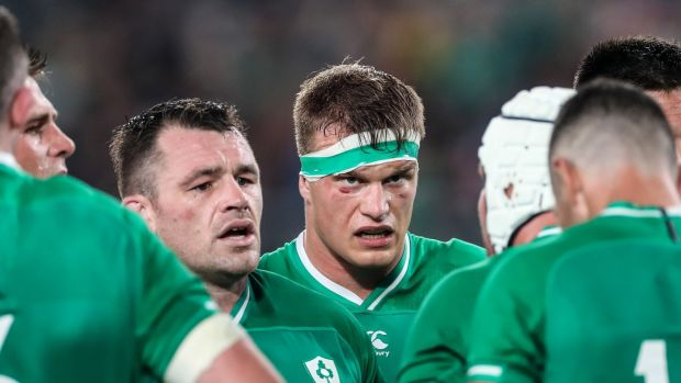 Cian Healy and Josh van der Flier after the defeat to the All Blacks. Photo: Billy Stickland/Inpho