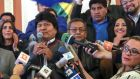 President of Bolivia Evo Morales: cult of personalty has developed around him after almost 14 years in power.  Photograph: Martin Alipaz