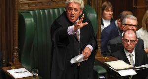 "Speaker John Bercow speaking in the House of Commons on Monday.  He prevented the government from putting the new Brexit deal to a ""meaningful vote"". Photograph: Jessica Taylor/UK parliament/AFP via Getty Images"