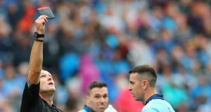 Referee Conor Lane black-carding  Dublin's Cormac Costello  in the All-Ireland semi-final against Mayo in Croke Park.  Photograph: James Crombie/Inpho