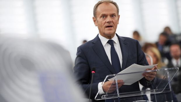 European Council president Donald Tusk speaks during a debate on the results of October EU summit at the European Parliament on October 22nd, 2019 in Strasbourg, eastern France. Photograph: Frederick Florin/AFP/Getty Images