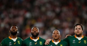 (From L to R) South Africa's Siya Kolisi, Tendai Mtawarira, hooker Bongi Mbonambi and  Frans Malherbe line up before the quarter-final win over Japan. Photograph: Odd Andersen/AFP/Getty