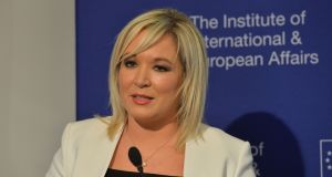 Sinn Féin vice president, Michelle O'Neill, speaking in  Dublin today. Photograph: Alan Betson