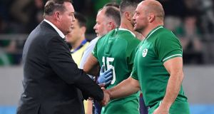 New Zealand head coach Steve Hansen  shakes hands with Ireland captain  Rory Best after the Rugby World Cup quarter-final in Tokyo. Photograph:  Kazuhiro Nogi/AFP via Getty Images