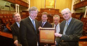 Then government chief whip Séamus Brennan with Pat Rabbitte, Paul Bradford, Desmond O'Malley and John Gormley at a photocall on February 25th, 2002, to mark the introduction of electronic voting in the Dáil. Photograph: Maxwells/Handout