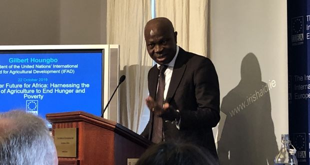 President of the UN International Fund for Agricultural Development, Gilbert Houngbo, addressing the Institute of International and European Affairs in Dublin on Tuesday. Photograph: Kevin O'Sullivan